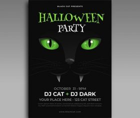 Flat design halloween party poster template vector