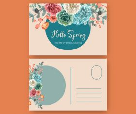 Floral charming postcard cover vector