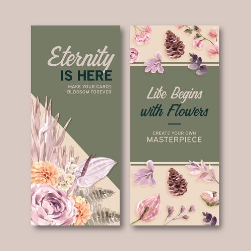 Floral flyer banner vector
