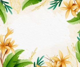 Flower and green leaf background vector