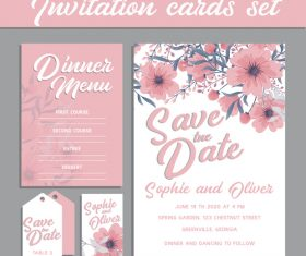 Flower background invitation card set vector
