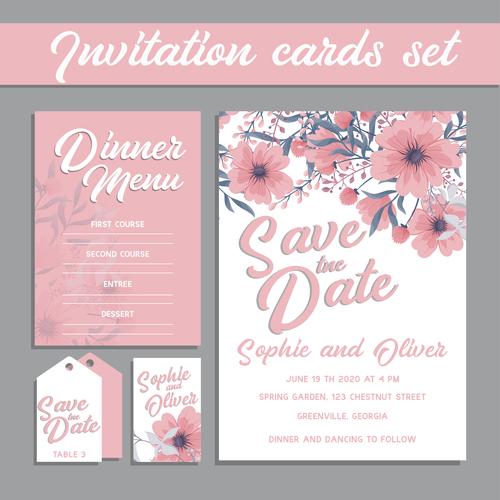 Flower background invitation card set vector
