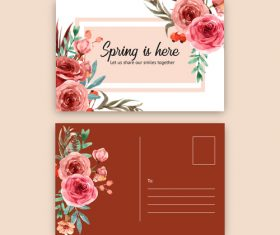 Flower decoration postcard cover vector