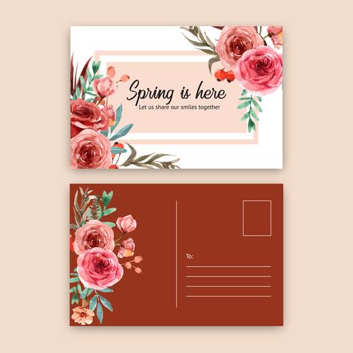 Flower decoration postcard cover vector