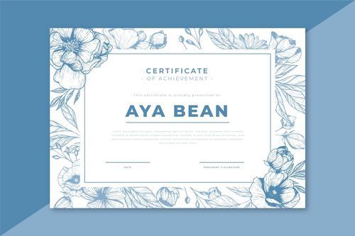 Flower frame certificate template vector
