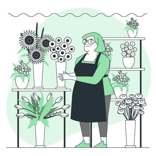 Flower shop cartoon background vector