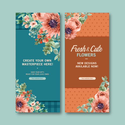 Flower watercolor painting banner vector