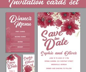 Flowers background invitation card vector