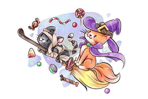 Flying broom watercolor illustration vector