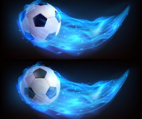 Football flying in fire realistic vector