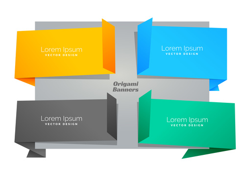 Four colors origami chat bubble vector