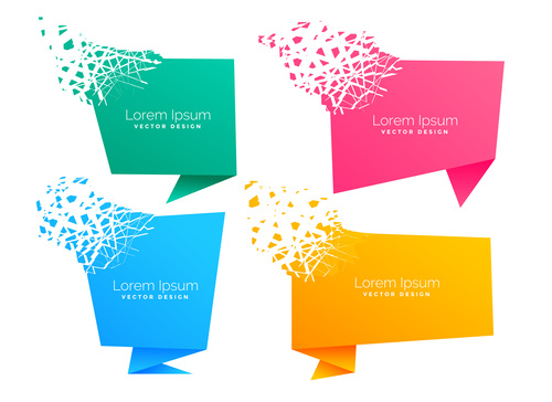 Four origami chat bubble vector