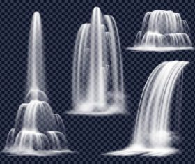Four sets of waterfalls background vector