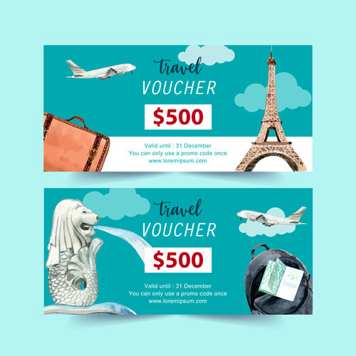French travel voucher banner vector