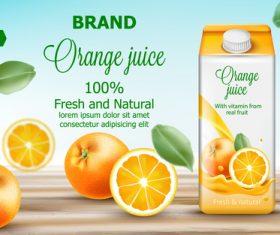Fresh and natural orange juice vector