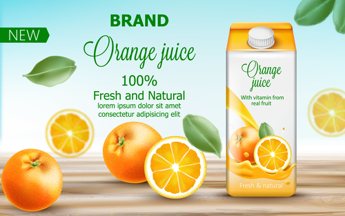 Fresh and natural orange juice vector