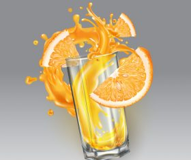 Fresh orange juice realistic illustration vector