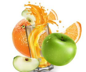 Fruit juice realistic illustration vector