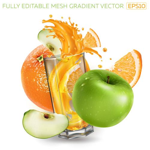 Fruit juice realistic illustration vector