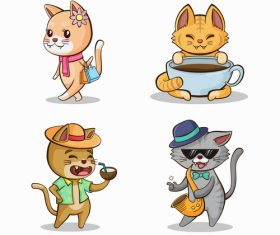Funny cat cartoon drawn design vector