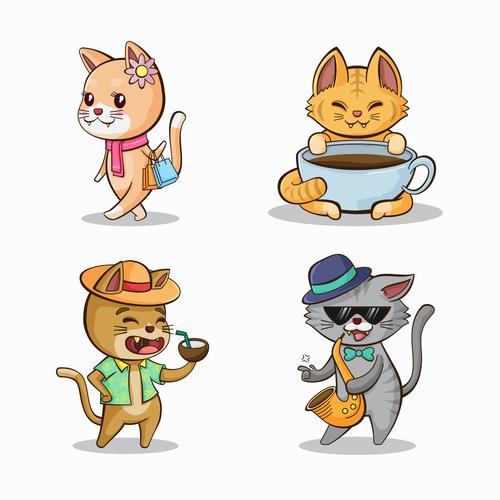 Funny cat cartoon drawn design vector