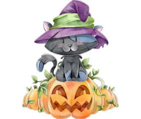 Funny halloween watercolor illustration vector