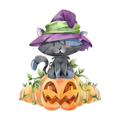 Funny halloween watercolor illustration vector