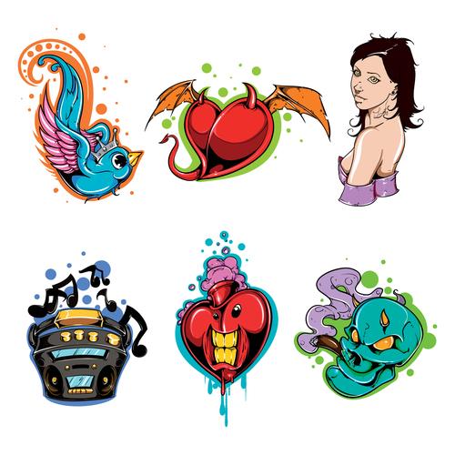 Funny tattoos logo vector