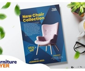 Furniture flyer vector