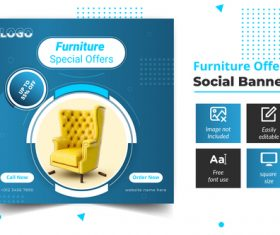 Furniture offers social banner vector