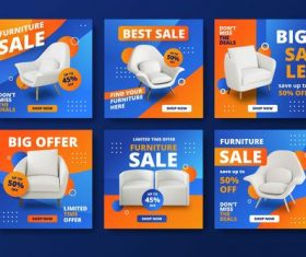 Furniture sales and instagram posts vector