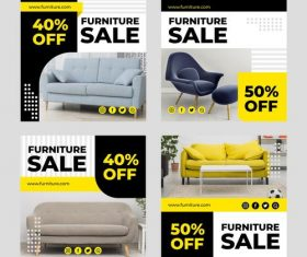 Furniture sales banner design vector