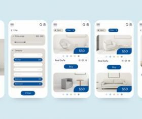 Furniture shopping app pack vector