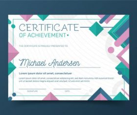 Geometric background certificate template vector