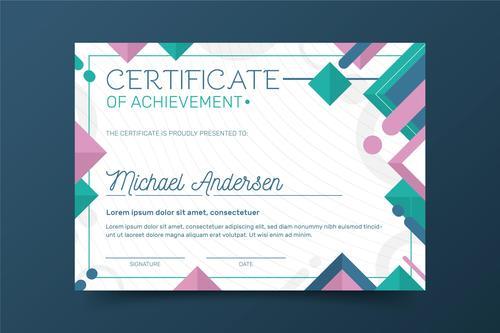 Geometric background certificate template vector