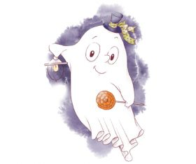 Ghost halloween cartoon watercolor illustration vector