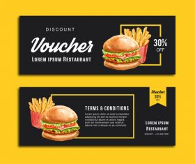 Gift voucher burger banner vector