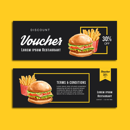 Gift voucher burger banner vector