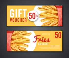 Gift voucher french fries banner vector