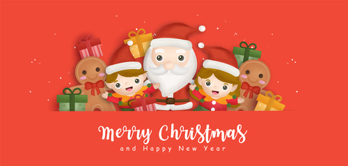 Gingerbread children and santa cartoon vector