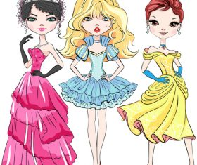 Girl fashion princess outfit vector