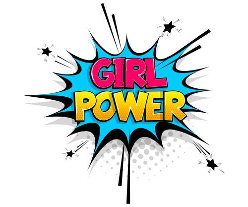 Girl power comic bubble text vector