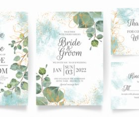 Gold foil embellishment floral frame wedding invitation vector