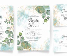 Gold foil embellishment floral frame wedding invitation vector