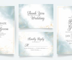 Gold foil frame wedding invitation card vector