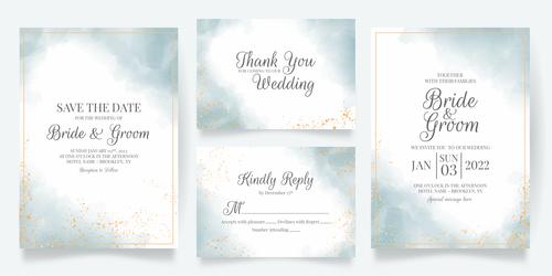 Gold foil frame wedding invitation card vector