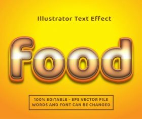 Golden background food editable font effect text vector
