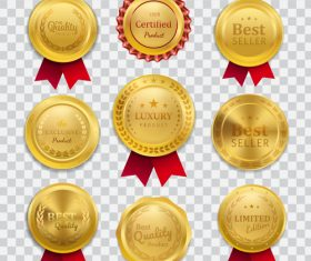 Golden best seller badges vector