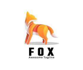 Golden fox icon vector