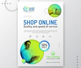 Gradient Online Shopping Flyer vector
